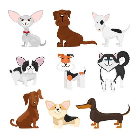 Dog breeds vector cartoon set. Set breeds pet funny puppy illustration Vector Illustration