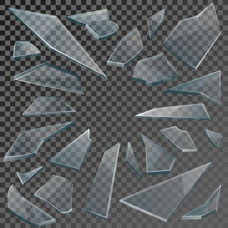 Realistic transparent shards of broken glass on checkered backdrop. Vector illustration
