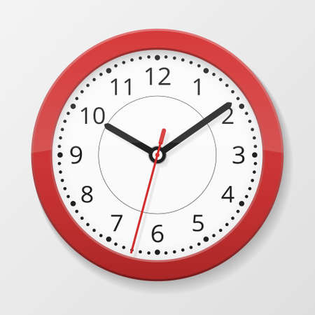 Round wall quartz clock in red color isolated on white background with seconds arrow, vector illustration Векторная Иллюстрация