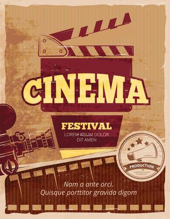 Cinema, movie festival vector vintage poster. Cinema festival poster, banner festival movie, cinematography festival illustration