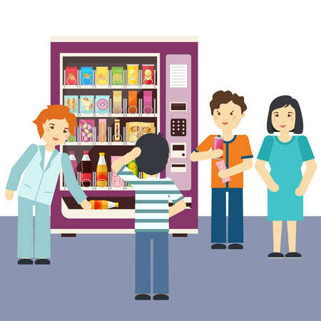 Vending machine choices vector illustration. People choose snacking food and drink. Beverage and sweet candy and biscuit in vending machine