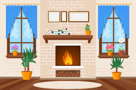 Classic living room interior with fireplace and bookshelves and house plants. Vector illustration