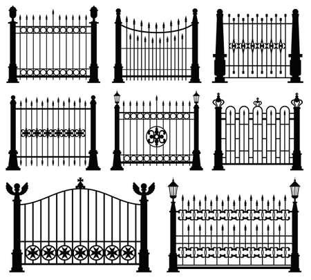 Decorative wrought fences and gates vector set. Black silhouette fence frame illustration