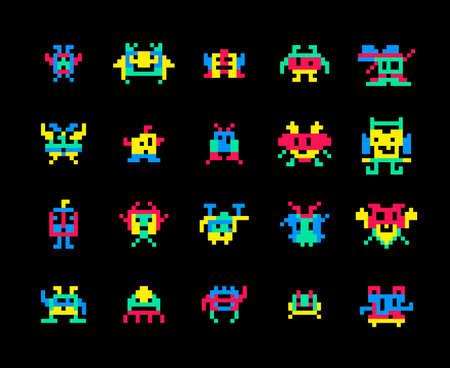 Vector pixel computer game invaders vector illustration. Color pixel monster robot character for video game