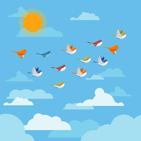 Cartoon flying birds in the sky with clouds and sun vector illustration. Group of birds in blue sky