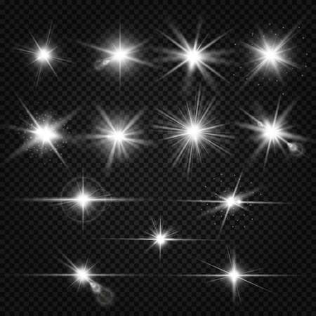 Twinkle lens flares, glare lighting vector effects. Collection of white star energy on on transparent background illustration Vettoriali