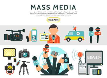 Flat mass media elements set with reporter photo video cameras news car microphones television radio tower dictaphone journalist id card newspaper isolated vector illustration Vettoriali