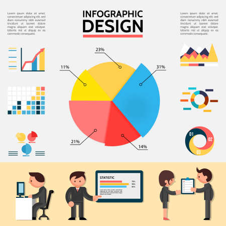 Flat abstract infographic template with graphs charts diagrams and business people in different situations vector illustration