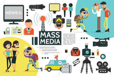 Flat mass media infographic template with reporter id card microphones news car cameras dictaphone newspaper uniform paparazzi photographing people vector illustration Ilustración de vector