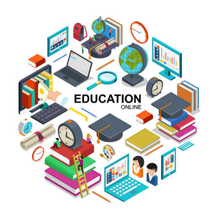 Isometric online education round concept with devices for online training graduation cap students books magnifier alarm clock backpack certificate pencil vector illustration