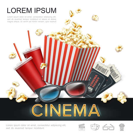 Realistic cinema colorful template with soda in paper cup popcorn in red striped bucket tickets 3d glasses vector illustration