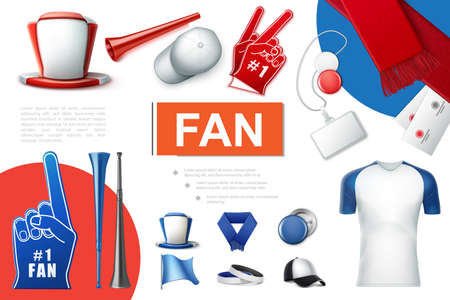Realistic fans accessories collection with soccer supporter hat cap vuvuzela scarf trumpets foam gloves badges tickets flags shirt vector illustration