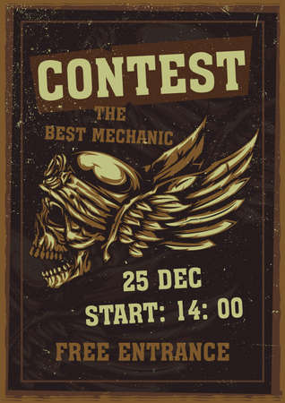 T-shirt or poster design with illustration of skull at helmet and wings on the background