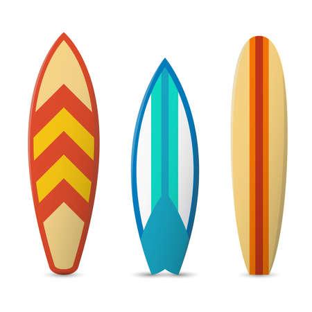 Vector color surfboard set. Sport extreme surfboard, surfboard pattern, sea surfboard illustration Ilustración de vector