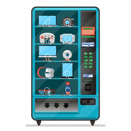 Vector vending machine with electronic devices, gadgets. Machine vending, service automatic vending, merchandise vending machine illustration
