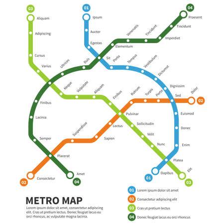 Metro, subway map vector template. Urban underground transportation scheme illustration
