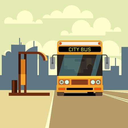 City bus at bus stop and urban skyline. Vector illustration in flat style. Bus urban on bus stop street Ilustración de vector