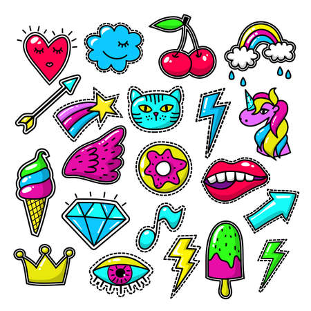 Chic fashion badges. Girl doodle applique patches and embroidered textile stickers. Embroidered label vintage, textile , unicorn and arrow embroidered illustration Vektoros illusztráció