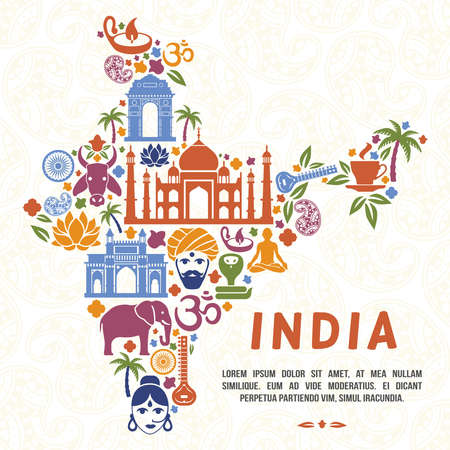 Traditional Indian symbols in the form of India map. India traditional, indian culture, india country, vector illustration