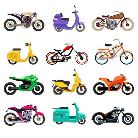 Motorcycle, scooter and moped models vector flat icons. Scooter icon and motorcycle transport, vehicle motorcycle transportation illustration Vector Illustratie