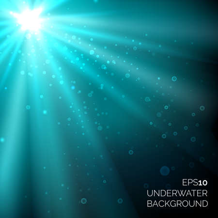 Under water blue deep ocean vector background with bubbles. Sunshine rays in water sea illustration
