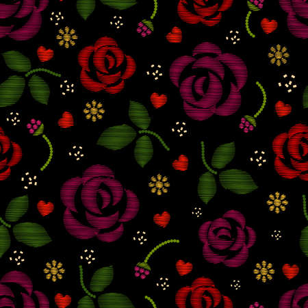 Embroidery pattern with roses flowers. Floral embroidery background and pattern embroidery with rose. Vector illustration Vector Illustration