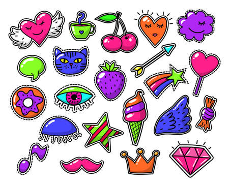 Love fashion signs, comic drawing vector patches. Badge vintage sticker candy and cherry illustration