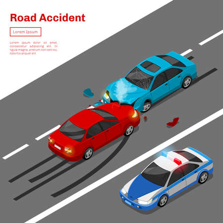Car crash. Road accident isometrics. Accident with car on road, crash accident traffic, vector illustration