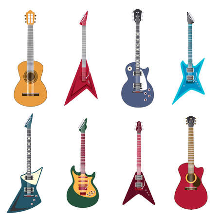 Guitars icons. Acoustic guitars and electric guitar vector illustration Vector Illustratie