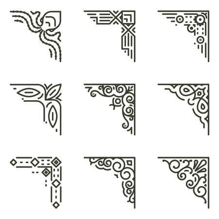 Ornamental linear corners. Vector calligraphic line corners for vintage frames illustration