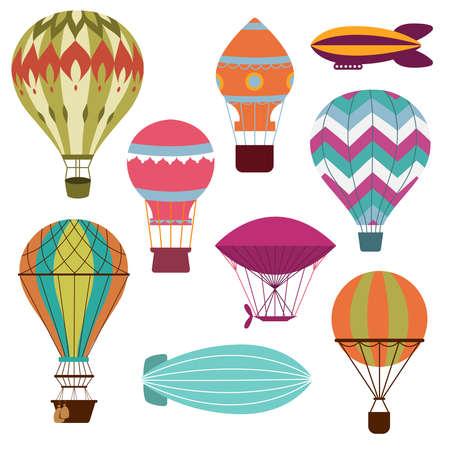 Retro hot air balloons set for transportation flying, vector illustration