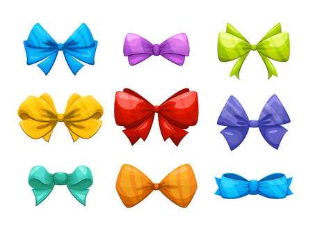 Cartoon gift bow with ribbon vector set for christmas cards. Color bow for gift birthday, christmas silk bow illustration Vektorgrafik