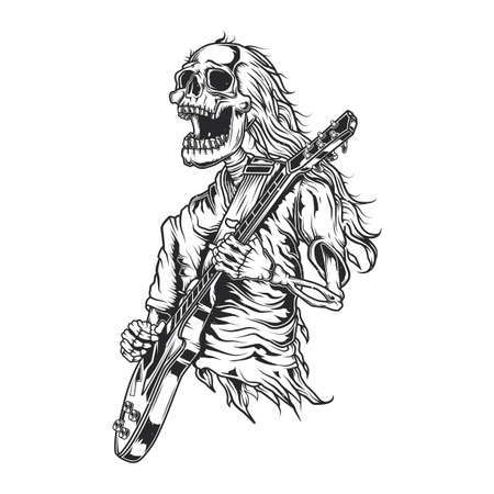 Emblem design with illustration of skeleton playing guitar
