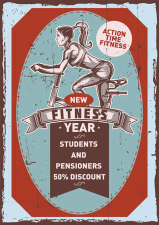 Poster label design with illustration of girl on the exercise bike