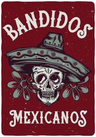 T-shirt label design with illustration of mexican skull in sombrero Vector Illustratie