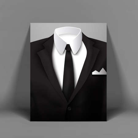 Stylish mens suit with bow tie poster by the light gray wall vector illustration