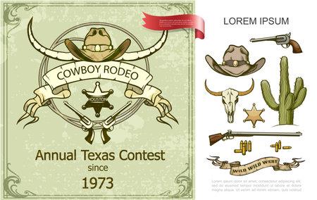 Vintage cowboy rodeo colorful composition with hat buffalo skull cactus revolver shotgun sheriff badge bullets vector illustration