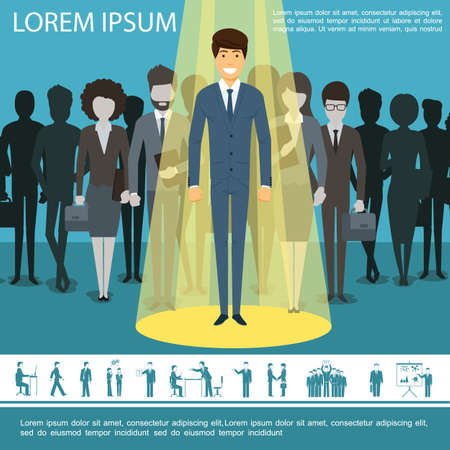 Flat business people template with group of entrepreneurs managers businesswomen and businessman icons vector illustration