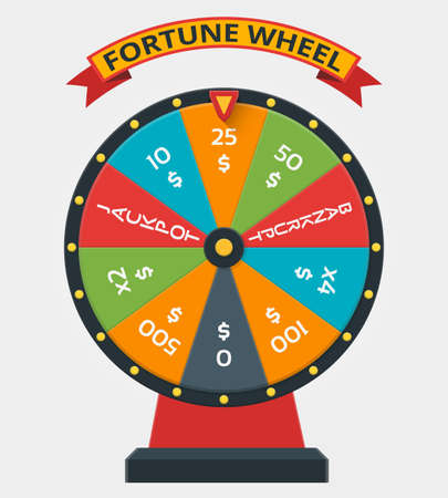 Fortune wheel in flat vector style. Wheel fortune, game money fortune, winner play luck fortune wheel illustration Vektorgrafik