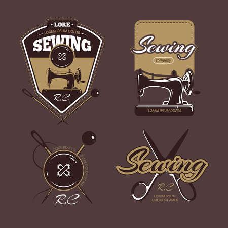 Tailoring color vector, labels and badges. Vintage collection, tailoring, badge tailoring, label tailoring illustration Векторная Иллюстрация