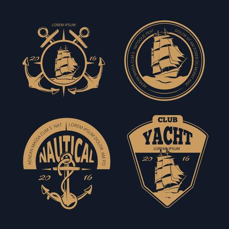 Vector color nautical labels and badges. Marine vintage nautical ship set Vector Illustratie