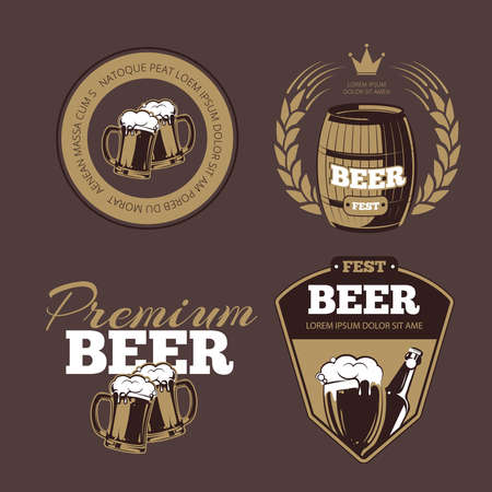 Beer icons, labels, signs for posters and banners. Beer fest, premium beer, label beer illustration, beer alcohol bottle. Vector set Vettoriali