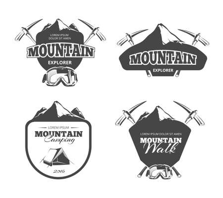 Vintage mountain camping, mountaineering vector emblems, labels, badges set. adventure mountain, emblem mountain walk, badge mountain explorer, label mountain expedition illustration