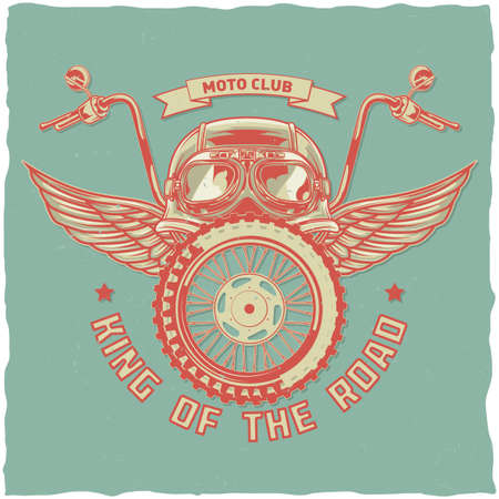 Motorcycle theme t-shirt label design with illustration of helmet, glasses, wheel and wings Ilustración de vector