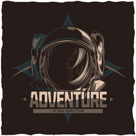 Space theme t-shirt label design with illustration of dead astronaut Vector Illustration
