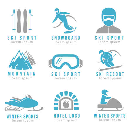 Ski resort and mountain hotel set with skiing and snowboarding. Set for hotel and ski resorts illustration