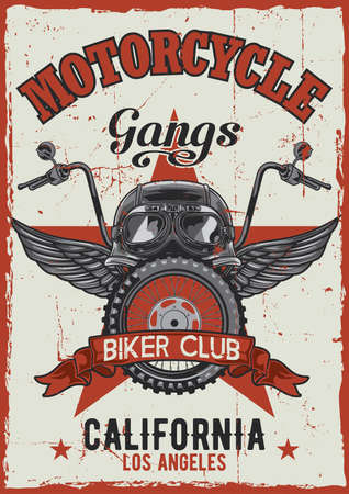 Motorcycle theme vintage poster design with illustration of helmet, glasses, wheel and wings Ilustración de vector