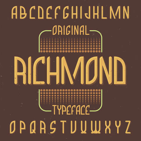 Vintage label typeface named Richmond. Good font to use in any vintage labels