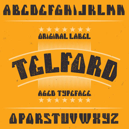 Vintage label typeface named Telford. Good font to use in any vintage labels