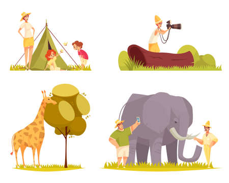 Safari travel concept 4 flat funny compositions with giraffe eating tree leaves family outside tent vector illustration